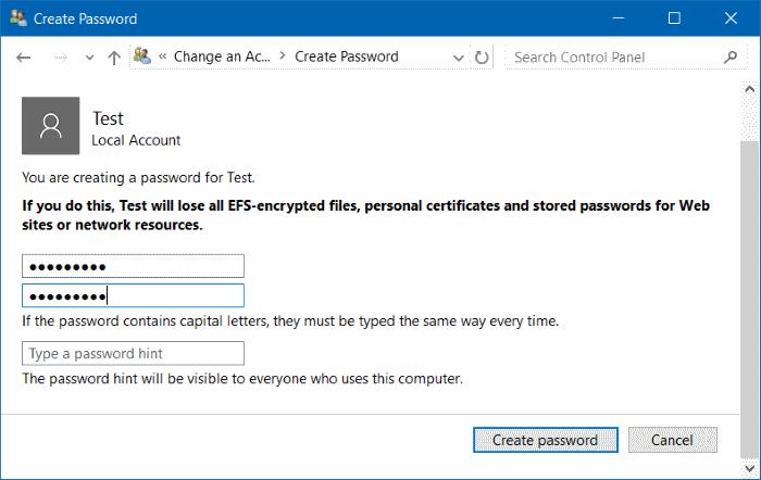 Membuat Password Windows10